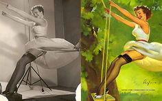 Digital manipulation was nothing but a dream back in the 30s, 40s, and 50s. This series of before and after images of pin-up girls by one of the most important glamour artists of the twentieth century, Gil Elvgren, shows us how easy it was to manipulate regular photos of full figured women into beautiful paintings of their seductive counterparts