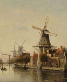 Cornelis Christiaan Dommelshuizen (Utrecht 1842-1928 Den Haag) A Dutch town view with windmills - Dutch Art Gallery Simonis and Buunk Ede, Netherlands.
