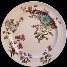 staffordshire 1883 overtone pattern. Polychrome plate