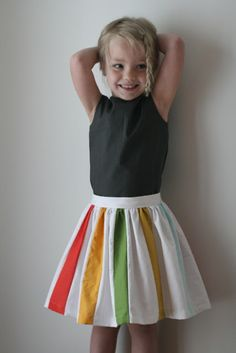 Stripes Skirt Tutorial... like the idea of this but pleat so stripes are more hidden at top and peek out at bottom as it gets full.