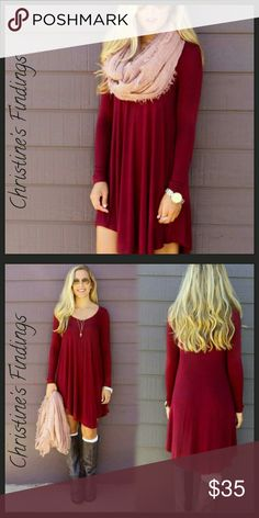 Red Tunic Dress Lightweight material. 100% Cotton Christine's Findings  Dresses
