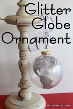 glitter globe ornament Pottery Barn Knock Off