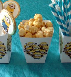 Minion Popcorn Boxes Minion Birthday, Minion Party, Popcorn Boxes, Despicable Me, Parties, Breakfast, Food, Fiestas, Morning Coffee