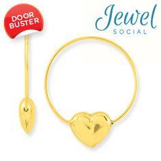 14kt Yellow Gold 25mm Endless Heart Hoop Earrings