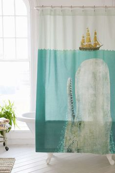 DIY Shower Curtain Art - House of Jade Interiors Blog: Make a huge wall canvas from some pieces of wood and a shower curtain.