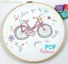 Bicycle Ride Hand Embroidery PDF Pattern Bike por lovahandmade
