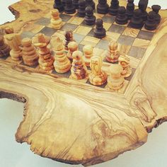 Olive wood chess board/set with Free wooden by tunisiahandmade, $65.00