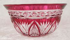 Lead Crystal Finger Bowl Red Hand Cut to Clear Glass European 4.75in Diam c1920