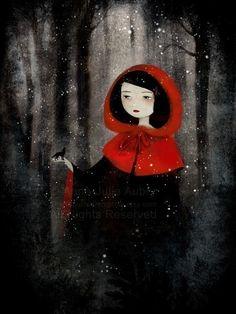 Petit Chaperon Rouge et le Loup (Little Red and the Wolf) 78/100 - reproduction sur papier d'Art