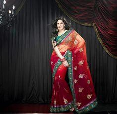 Incredible Look Red Color #Designer #Saree