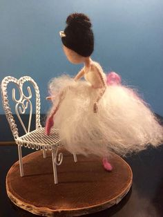 Needle felted ballerina Waldorf inspired Wool fairy Pink