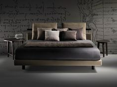 Fabric double bed with removable cover Patrik Collection by FLEXFORM