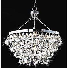 @Overstock - Update your living room or dining room with this beautiful five light contemporary crystal chandelier. Featuring a gleaming chrome finish and sparkling clear crystal drops, this modern chandelier comes equipped with a 40-inch hanging wire.http://www.overstock.com/Home-Garden/Indoor-5-light-Luxury-Crystal-Chandelier/5152205/product.html?CID=214117 $250.99