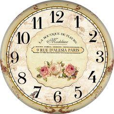 Home Decor Flower Rustic Vintage Wall Clock Modern Design Fashion Large Decorative Antique Wooden Wall Clock Oversized Clock Face Printable, Printable Wall Art, Blank Clock Faces, Clock Template, Paris 3, Paris France, Rustic Wall Clocks, Diy Clock, Clock Wall