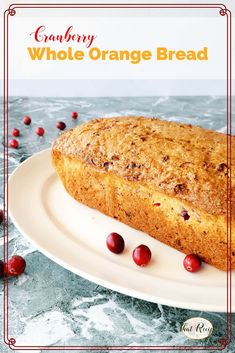 This Cranberry Whole Orange Bread is a delicious tea bread made with fresh orange pulp and cranberries. Fresh or frozen blueberries can al. Cranberry Bread, Cranberry Muffins, Quick Bread Recipes, Fun Easy Recipes, Delicious Desserts, Dessert Recipes, Yummy Food, Cake Recipes, Tasty