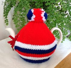 Knitted Tea Cosy - Red, White and Blue
