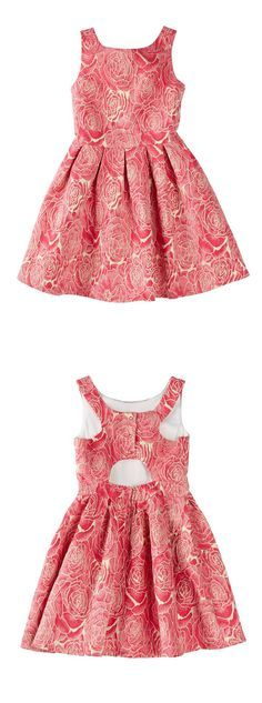 Sleeveless Metallic Rose Jacquard Back Cutout Pleated Dress ==