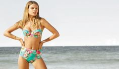 Ginja, sister brand to Australian company Baku, is proud to present their 2014 collection. The new styles mix bold solids with vivid florals, textured Chevron zigzags, Malibu inspired nautical stripes… Nautical Stripes, Chevron, Swimwear 2014, Bathing Suits, Boho, Bikinis, Cute, How To Wear, Collection