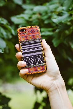 DIY: tapestry iPhone case. This tutorial is done with pre-made tapestry-style fabric, but maybe it could also be done with woven fabric? Cool idea.