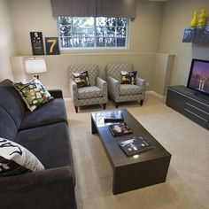 Finished Basement Hangout - contemporary - media room - chicago - Mary Cook