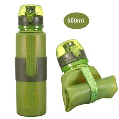 ToFuture Collapsible Silicone Leak Proof Sports Water Bottle Bag Clip Foldable Camping 500ml Canteen Folding Hydration Cup BPA Free for Cycling, Hiking, Travelling, Fitness and Outdoor Activities * Read more reviews of the product by visiting the link on the image.