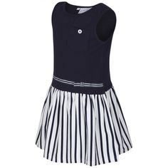 Girl's Navy Dress with Strip Print and Breast Pocket. Available now at www.chocolateclothing.co.uk