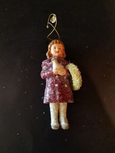 Bethany Lowe Retired Christmas Ornament  Girl Holding wreath and Dove