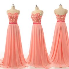 Peach bridesmaid dresses, lace bridesmaid dresses, chiffon bridesmaid dresses, long bridesmaid dresses, chiffon bridesmaid dresses, 17030