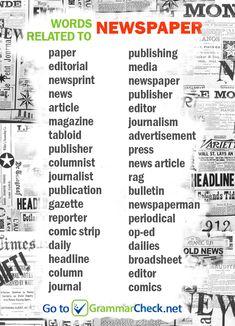 LIST: Words related to newspaper news journalism vocabulary Englishwords Englishlanguage ESL 110619734583225731 English Vocabulary Words, Learn English Words, Learn English Grammar, English Study, Academic Vocabulary, Vocabulary Activities, Preschool Worksheets, English Writing Skills, Book Writing Tips