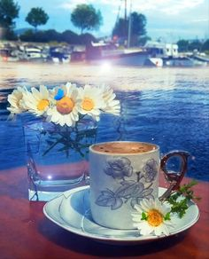 Coffee time at Agios Nikolaos Town,Lassithi region, Crete island, Greece Coffee Gif, Coffee Latte, I Love Coffee, Coffee Break, Coffee Cups, Tea Cups, Good Morning Coffee, Good Morning Flowers, Good Morning Greetings