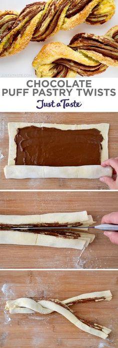Chocolate Puff Pastry Twists recipe from justataste.com #recipe #dessert