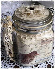 Such a pretty way to package smaller gifts! - altered jar, adorned as desired! (love the lid to match the paper lining)... cute & crafty keepsake!