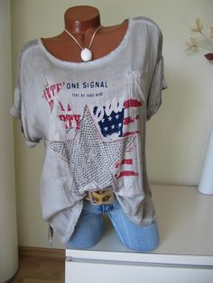 Vintage Oversize Shirt Tunika USA Flag Glitzer Stern Batik