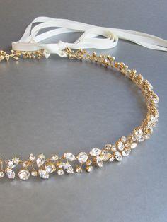 Skinny bridal belt sash Crystal wedding belt by SabinaKWdesign