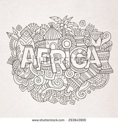 Africa ethnic hand lettering and doodles elements and symbols background. Vector hand drawn sketchy illustration - stock vector