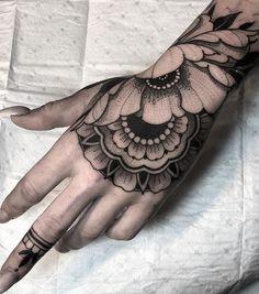 Hand Tattoos for Women . Hand Tattoos for Women . Mandala Tattoo Design, Mandala Hand Tattoos, Floral Mandala Tattoo, Flower Tattoo Designs, Butterfly Tattoos, Tribal Hand Tattoos, Arm Tattoo, Body Art Tattoos, Sleeve Tattoos