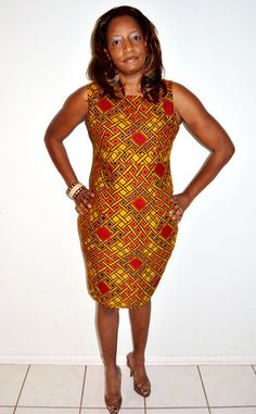 Living That Golden Life in This: Brown And Red Dress, Pencil Knee Length Dress, African Ankara Print Dr – Zabba Designs African Clothing Store