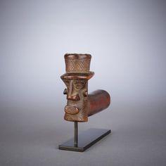 """Kuba or Binji Wood, metal bowl Early 20th century H: 3"""" L: 4.5"""""""