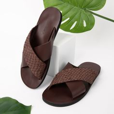 Fishskin Leather Sandal: Brown - Mens - 11 (44)