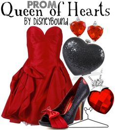 Disney Bound: Queen of Hearts from Disney's Alice in Wonderland (Prom Outfit) Bal Disney, Disney Prom, Cute Disney, Disney Diy, Disney Inspired Outfits, Themed Outfits, Disney Outfits, Disney Style, Disney Clothes