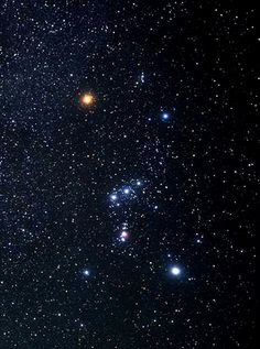 Orion Constellation: Rigel, Betelgeuse, Bellatrix, Saiph - The Belt: Mintaka, the westernmost of the three stars.  Alnilam, the central star in the belt. and Alnitak, the easternmost star in the belt.