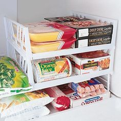 Stackable Freezer Shelves - Zoom                                                                                                                                                                                 More Freezer Organization, Travel Organization, Organize Freezer, Refrigerator Organization, Organizing Ideas, Studio Organization, Organizing A Camper, Kitchen Organization, Organization Station