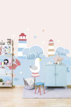 """Mural """"Bajo el mar"""" #mrwonderfulshop #wallpaper #baby #decoration #mural"""