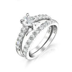 Pear Shaped Engagement Wedding Ring Set