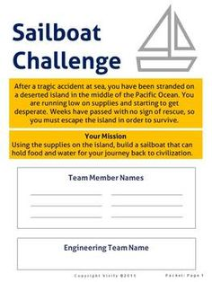 STEM Sailboat Challenge Math & Engineering... by Vivify STEM | Teachers Pay Teachers Stem Teacher, Engineering Design Process, Stem Activities, Classroom Themes, After School, First Step, Rafting, Sailboat, Ms