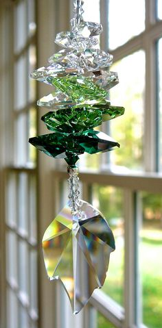 """LITTLE IVY - Swarovski Crystal 32mm Leaf with Octagons in Medley of Clear and Green Tones -- Car Charm, Cubicle Decor - 6.5"""" Long on Etsy, $21.00"""