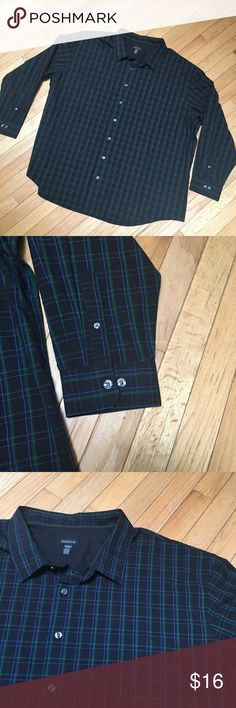 Van Heusen Plaid Dress Shirt Black button down dress shirt with green & blue plaid pattern - 60% cotton 40% polyester lightweight & breathable - really great condition with no stains or holes - size is 4XL   Like this item? Check out my closet and save with a bundle 💕 Van Heusen Shirts Dress Shirts