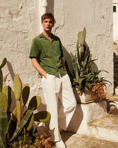 refined summer in the city dressing pack relaxed shirts tailored shorts and smart tees. Cactus Photoshoot, Men Photoshoot, Poses For Men, Male Poses, Fashion Shoot, Editorial Fashion, Baptiste Radufe, Summer Editorial, Men Photography