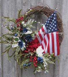 Patriotic Wreath, Spring Wreath, Floral Designer Wreath, Americana, Fourth of July, American Flag Wreath on Etsy, $169.00