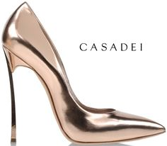 Casadei Spring 2014 Mirrored Rose Gold Blade Pointed-Toe Pumps - Buy Online - Designer Pumps